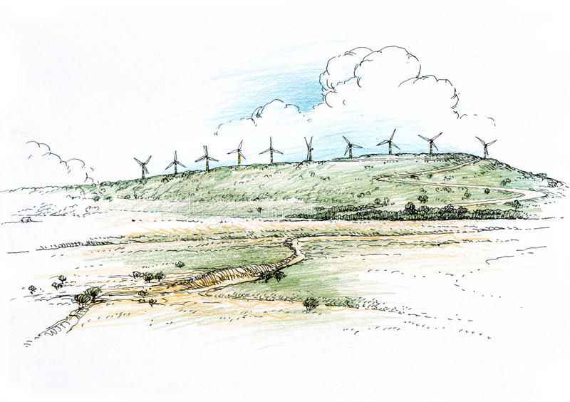 Landscape with windmills. Architectural drawing vector illustration