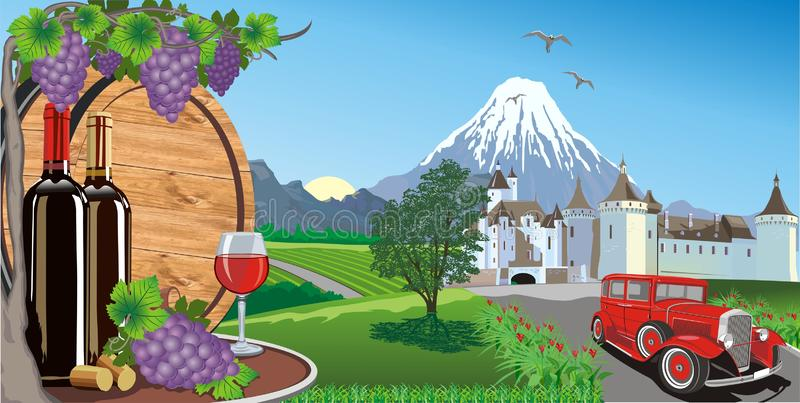 Landscape-wine, grapes and a wooden barrel for wine. stock illustration
