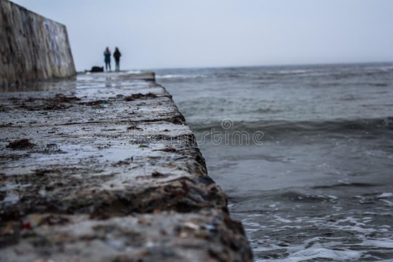 Landscape of winter, cold sea. View of the dark winter sea, winter berth stock photography