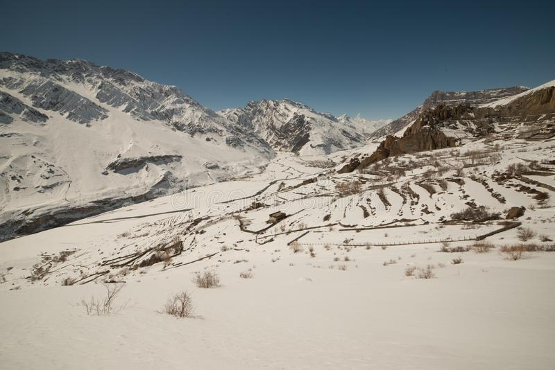 Landscape in winter in himalayas - india royalty free stock photo