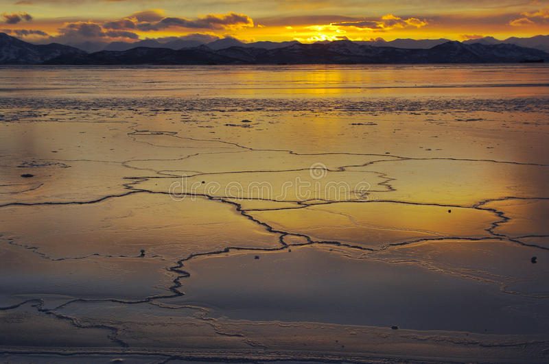 Landscape of winter ocean on Kamchatka in Russia. royalty free stock image