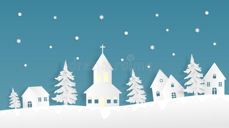 Landscape winter season with urban countryside, crunch, house, pine tree and falling snow background in paper cut style. Vector royalty free illustration