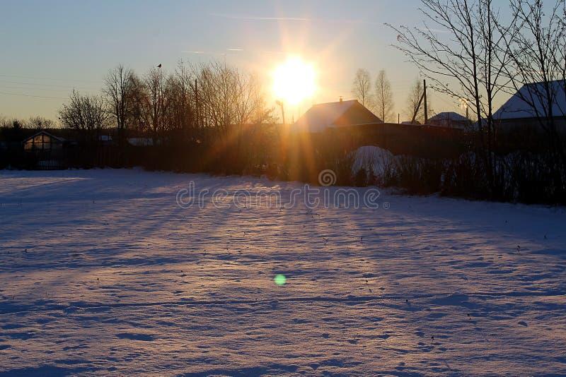 landscape winter time set sun evening sunset royalty free stock photo