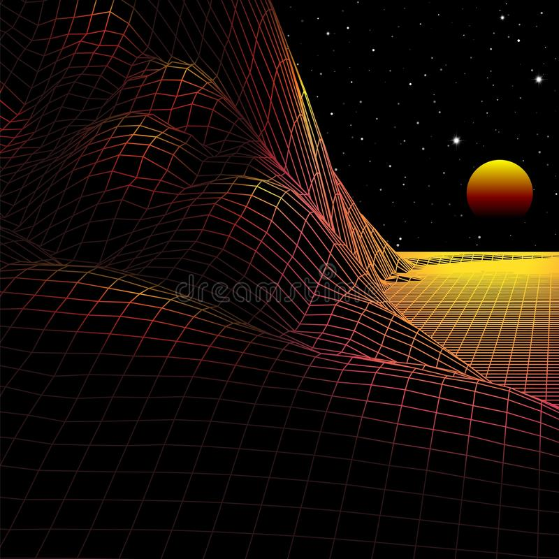 Landscape with wireframe grid of 80s styled retro computer game or science background 3d structure sun and mountains vector illustration