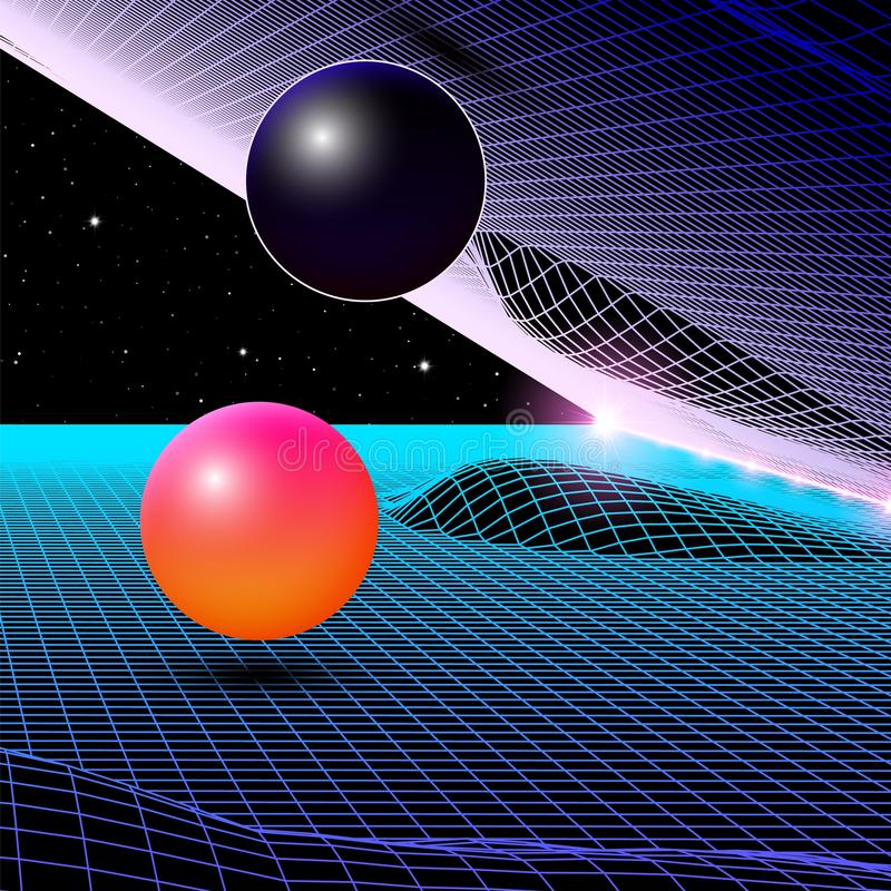 Landscape with wireframe grid of 80s styled retro computer game or science background 3d structure with red mountains. Landscape with wireframe grid of 80s stock illustration