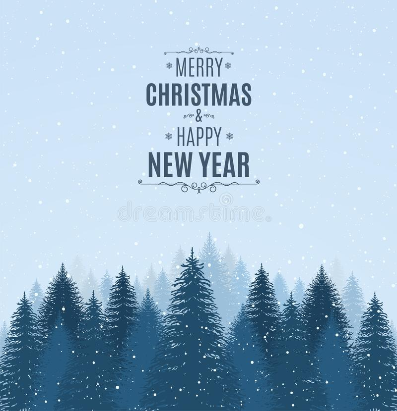 Free Landscape With Blue Snowy Pines, Firs, Coniferous Forest, Falling Snow. Holiday Winter Forest Merry Christmas And Happy New Year. Stock Image - 131295531