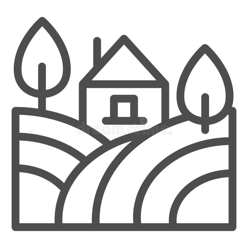 Free Landscape With Farm House And Trees Line Icon. Rural Field With Home Outline Style Pictogram On White Background. Winery Royalty Free Stock Photography - 178072977