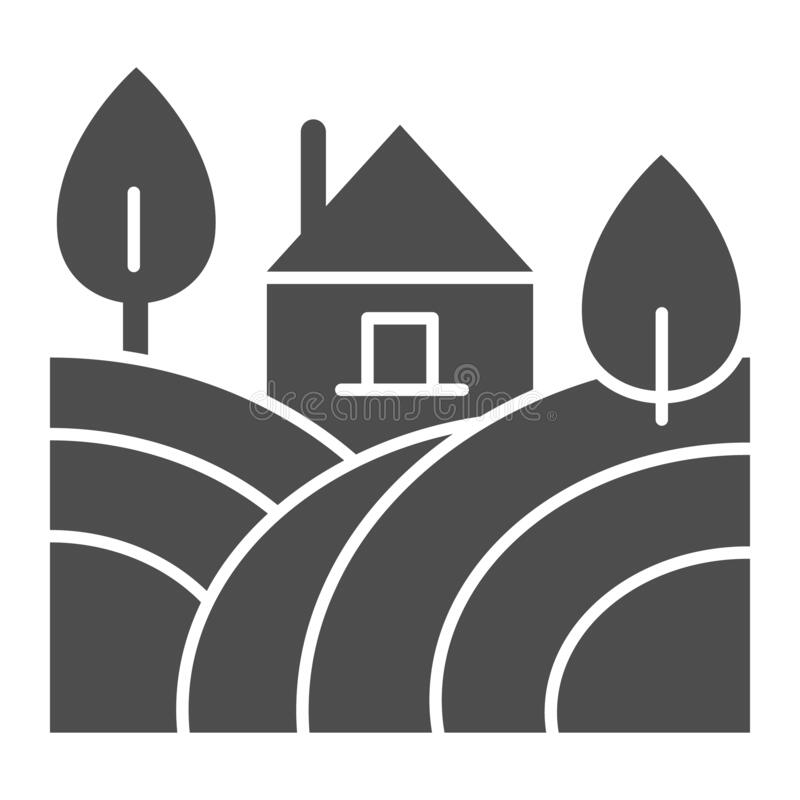 Free Landscape With Farm House And Trees Solid Icon. Rural Field With Home Glyph Style Pictogram On White Background. Winery Stock Image - 178072981