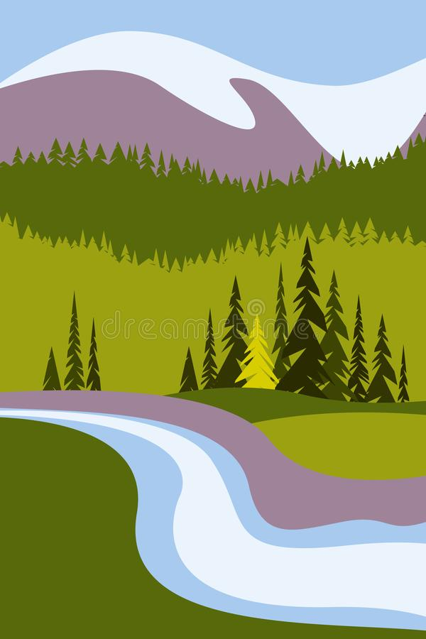 Free Landscape With Mountains And Snowy Peaks, A River And Trees. Poster For Tourism With The Natural Environment, National Parks, Clea Stock Photos - 117798003