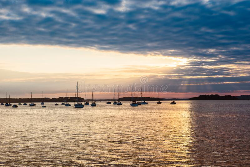 Landscape with Yachts in the sea at sunset, Yachting. Romantic trip on luxury yacht during the sea sunset. Selective fovus. copy s stock photos