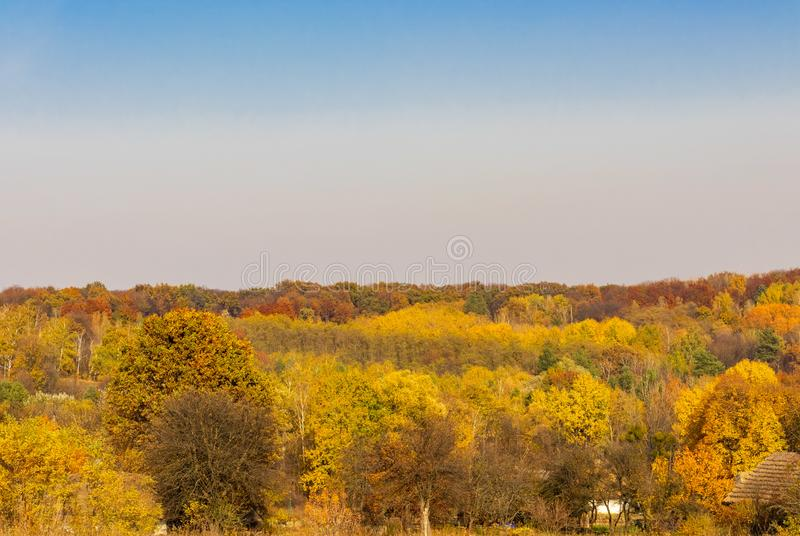Landscape with yellow trees and Ukrainian village roofs. Autumn landscape with yellow trees and village roofs stock photo