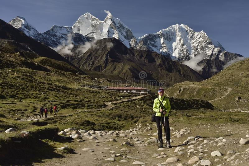 Climber on Khumbu Valley. Himalaya, Nepal. royalty free stock photography