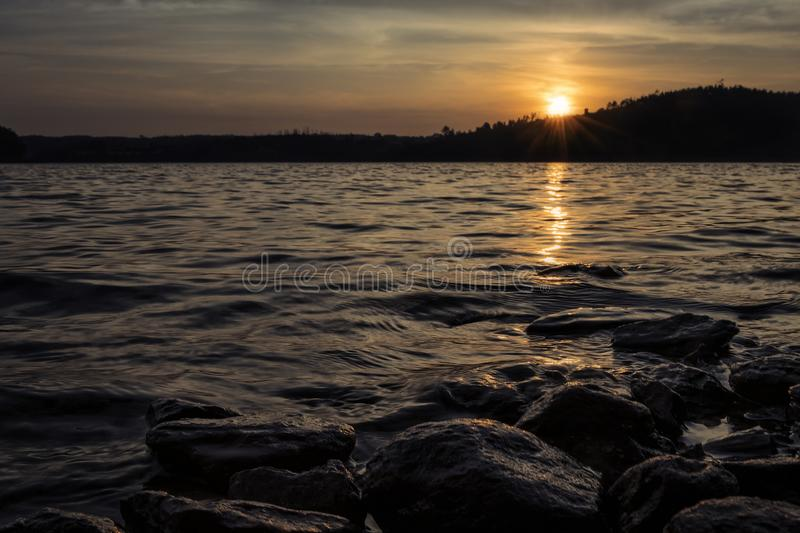 Landscape of zezere river, with sunset. Portugal royalty free stock photos