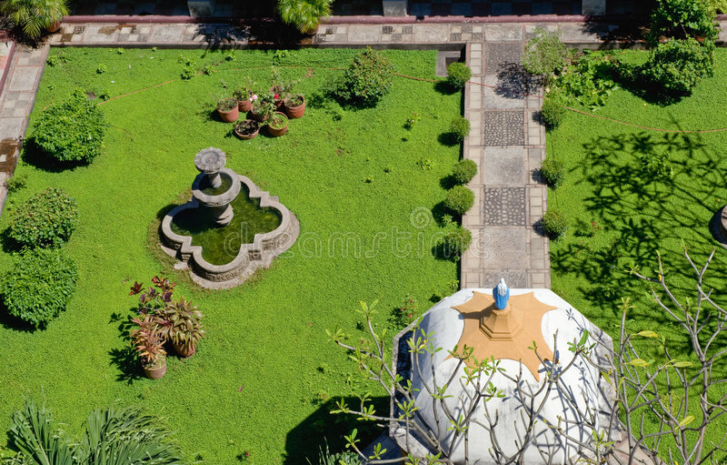 Landscaped garden aerial view stock photo