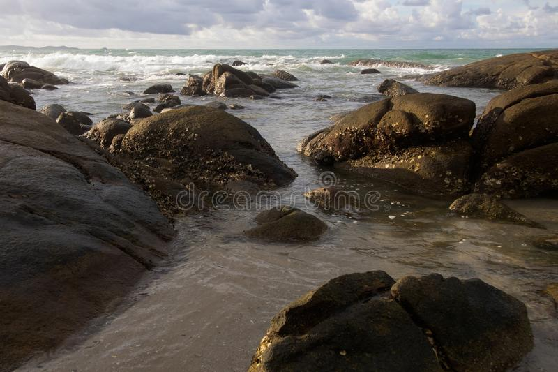 Landscapes, the beauty of large rocks and sea. Natural background royalty free stock photo