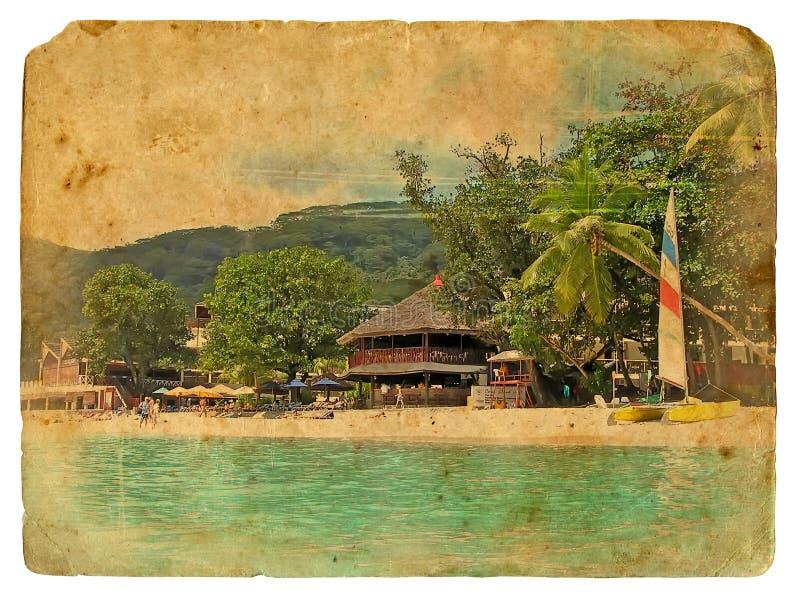 landscapes den tropiska gammala vykortet stock illustrationer