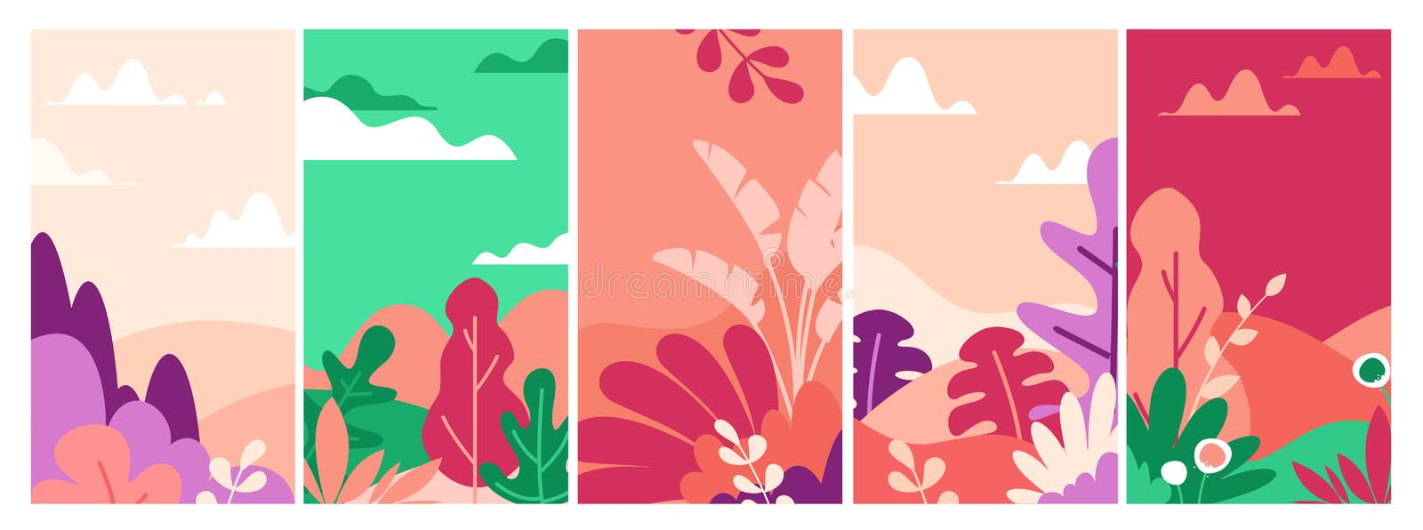 Landscapes flat vector illustrations set. Beautiful nature view abstract backgrounds pack. Field with trees and flowers stock illustration