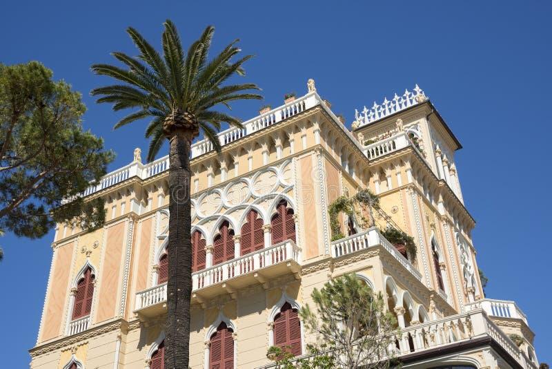 Landscapes, houses and villas on the sea along the coast of Portofino stock photos