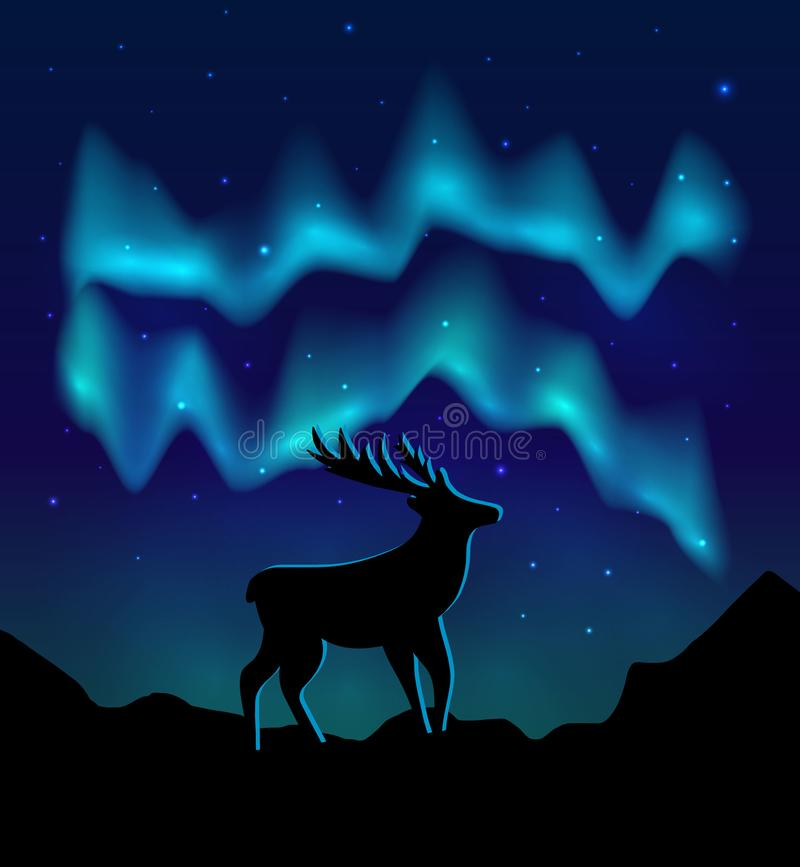 Landscapes northern lights in the starry sky and  with silhouette of deer on mountains. vector eps10 royalty free illustration