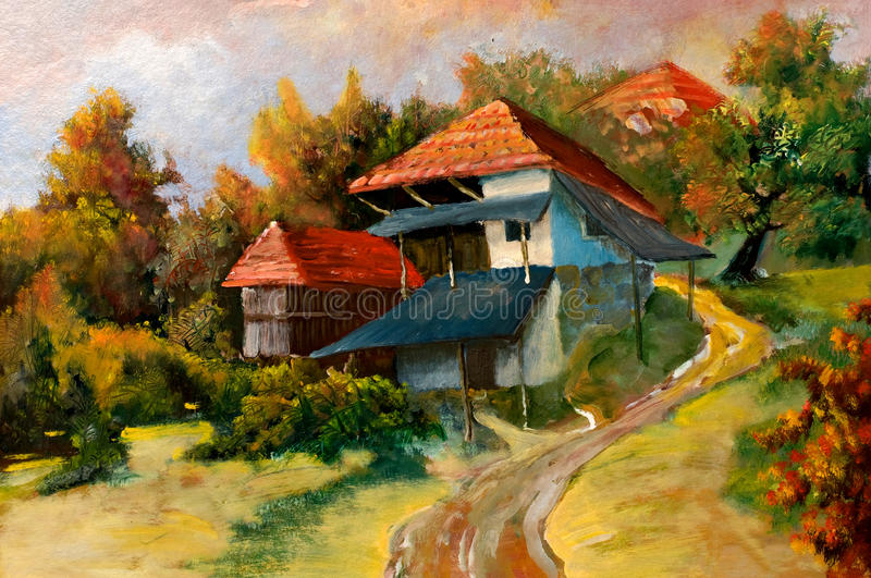 Landscapes on oil canvas stock photo