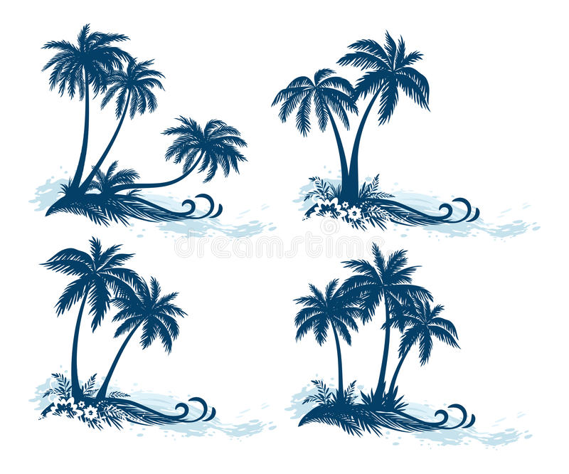 Landscapes, Palm Trees Silhouettes stock illustration