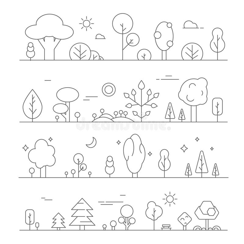 Landscapes with plants. Vector mono line pictures of hills and trees vector illustration