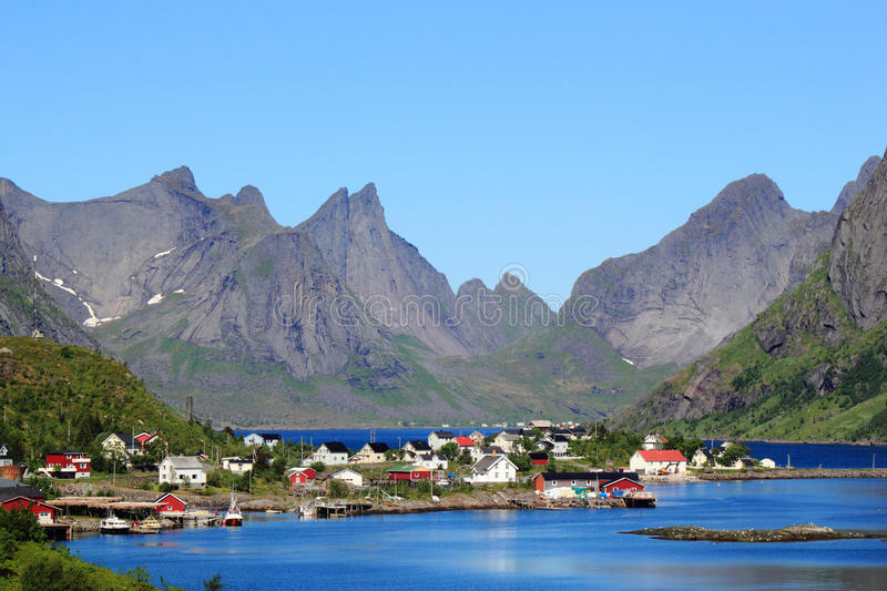 Landscapes of Reine in Lofoten. The village of Reine, For the Times Magazine the most beautiful place in the world royalty free stock photo