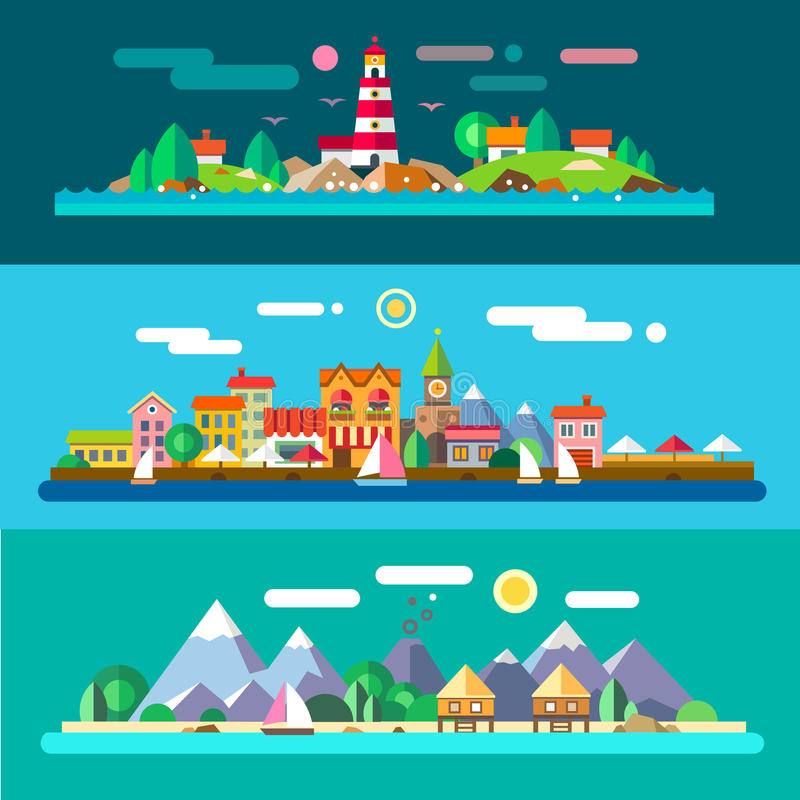 Landscapes by the sea royalty free illustration