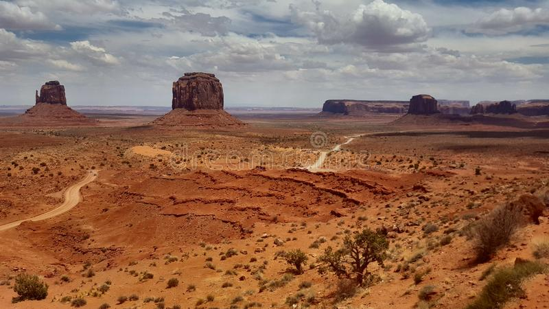Landscapes United States Monument Valley Arizona. Famous places of United States of America USA: Panorama of Monument Valley Landscape Arizona Utah; scene from royalty free stock image
