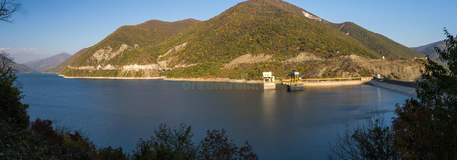 Landscapes of the water and mountains Zhinval water reservoir, G royalty free stock photography