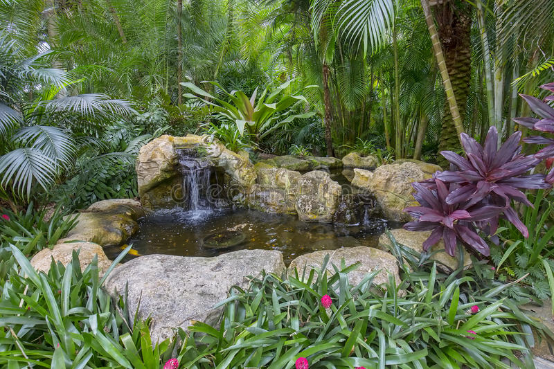 Download Landscaping  Artificial Rock Garden Pond Stock Photo   Image Of  Splash, Tropical: