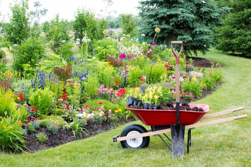 Landscaping the garden stock photos