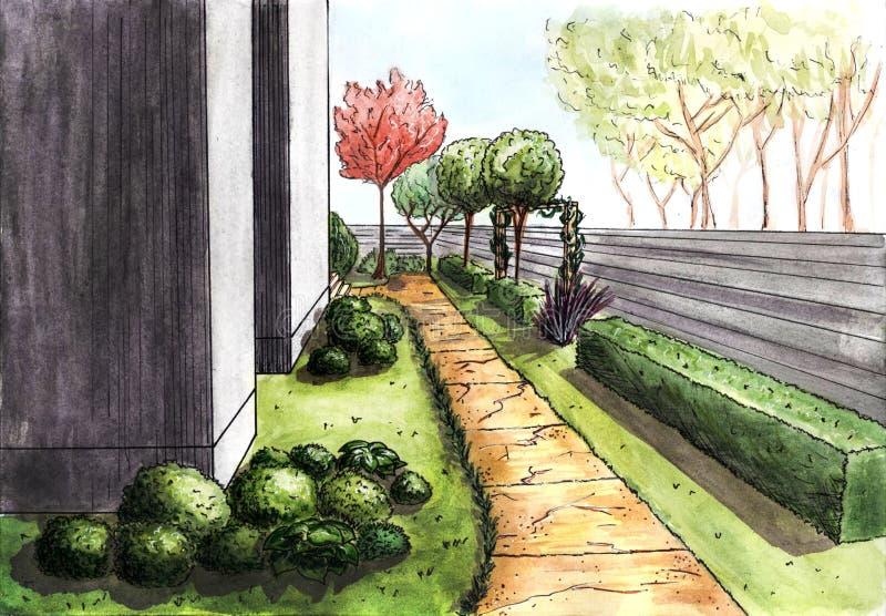 landscaping Il percorso alla casa fotografie stock