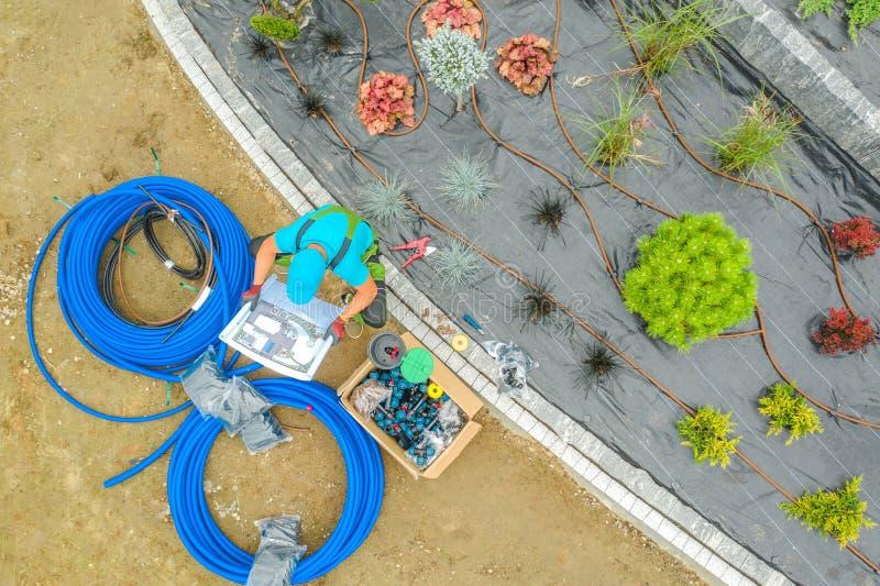 Garden Irrigation System Job stock photos