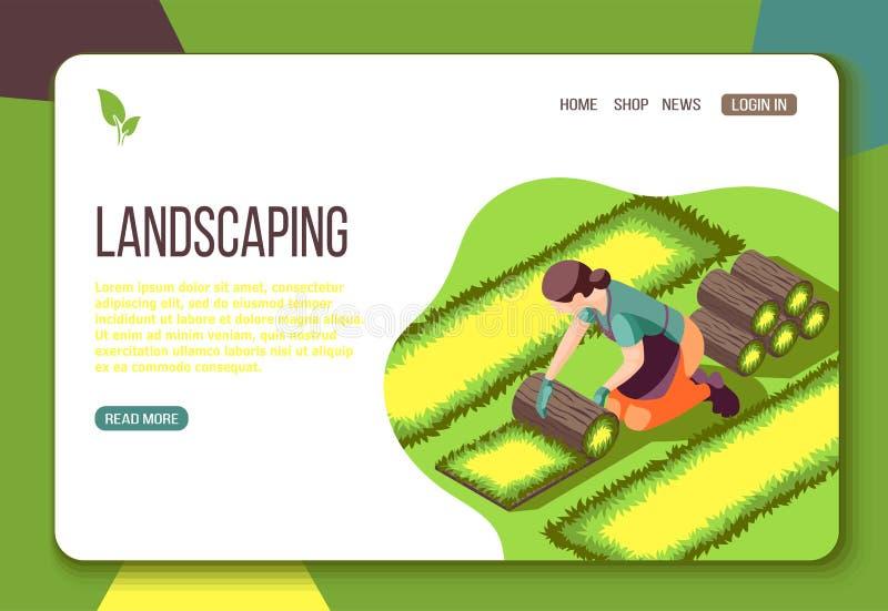 Landscaping Isometric Web Landing Page stock illustration