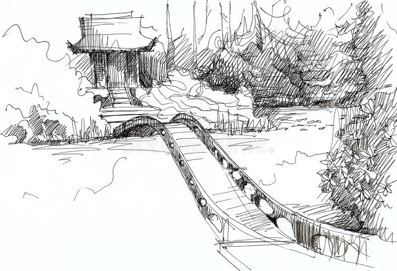 Landscaping of a park with a river, a bridge and a Chinese house among the trees. Sketch illustration stock illustration