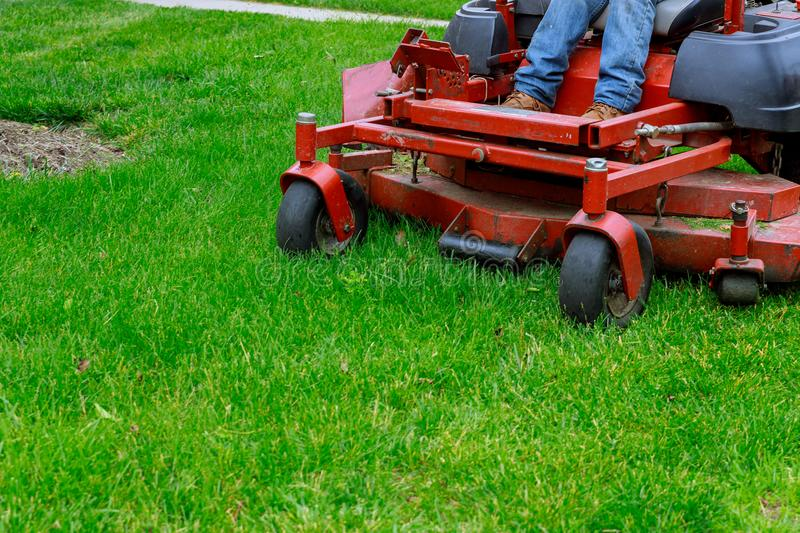 Landscaping Professional Gardener with Large Large of mower cutting the grass royalty free stock image