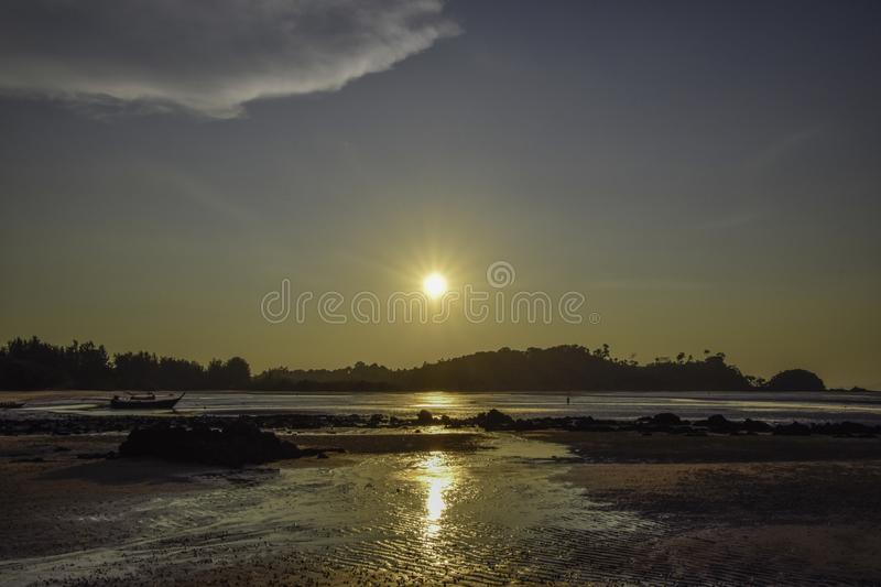 landscapt of sea - sunset at the beach at Thailand royalty free stock photography