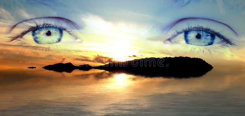 Download Landscepe de œil bleu photo stock. Image du été, sunset - 730324