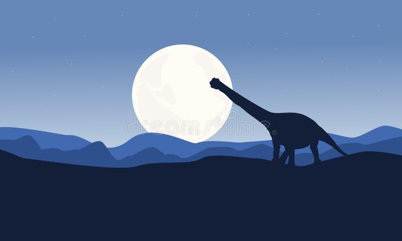 Landschaft Argentinosaurus auf Wüstenvektor stock abbildung