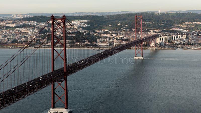 Landschaft auf der Brücke 25 April Lisbon lizenzfreie stockfotos