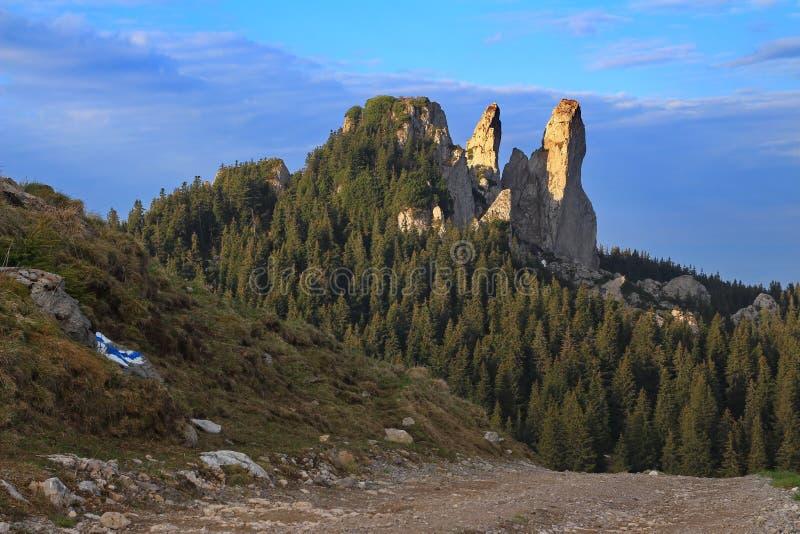 Landschaft in Bucovina, Rumänien - Dame Stones stockfoto