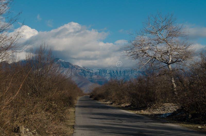Landschaft der Asphaltstraße weg durchlaufend in die Gebirgspässe die Bäume, die Dörfer und die Waldplätze stockbild