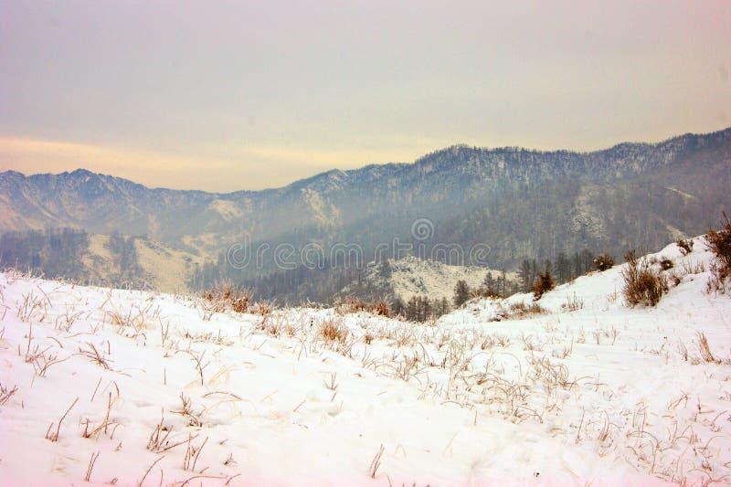 Landschaft der Berge im Winter schneebedeckt lizenzfreie stockfotografie