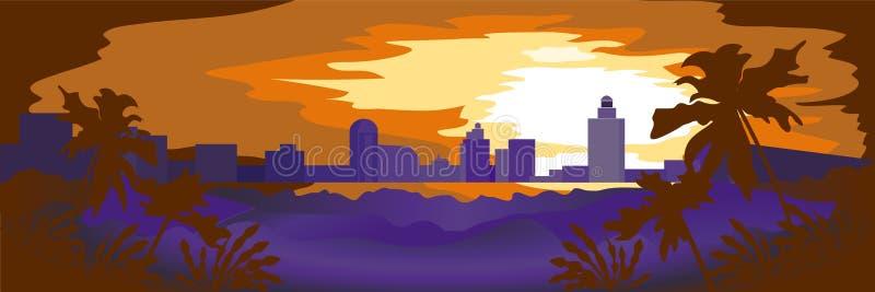 Landschaft der Glättungsstadt bei Sonnenuntergang lizenzfreie abbildung