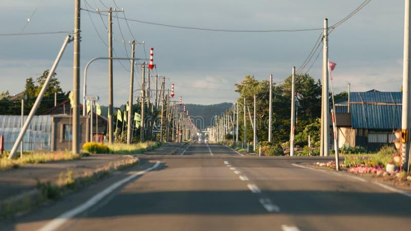 Landschaft der Landschafts-Straße in Hokkaido, Japan in der magischen Stunde stockbild