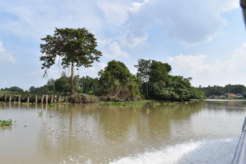 Landschaft der schönen Landschaft in Saigon-Fluss in Ho Chi Minh City, Vietnam, Asien lizenzfreie stockbilder