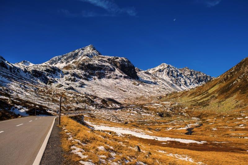 Landschaft der Schweizer Alpen und des Waldes des Naturschutzparks in der Schweiz Alpen von der Schweiz auf Herbst Fluela-Durchla lizenzfreies stockfoto
