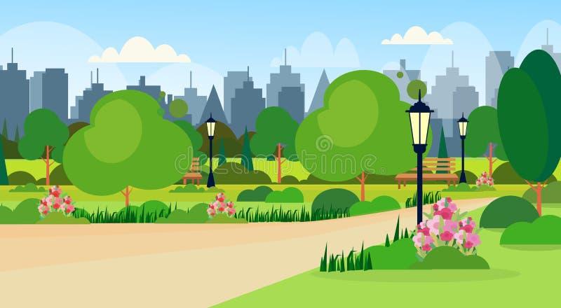 Landschaft der Sommerparkszenenholzbank-Straßenlaterne der Stadt der allgemeinen Gebäudeskylinestadtbild-Hintergrundebene moderne stock abbildung