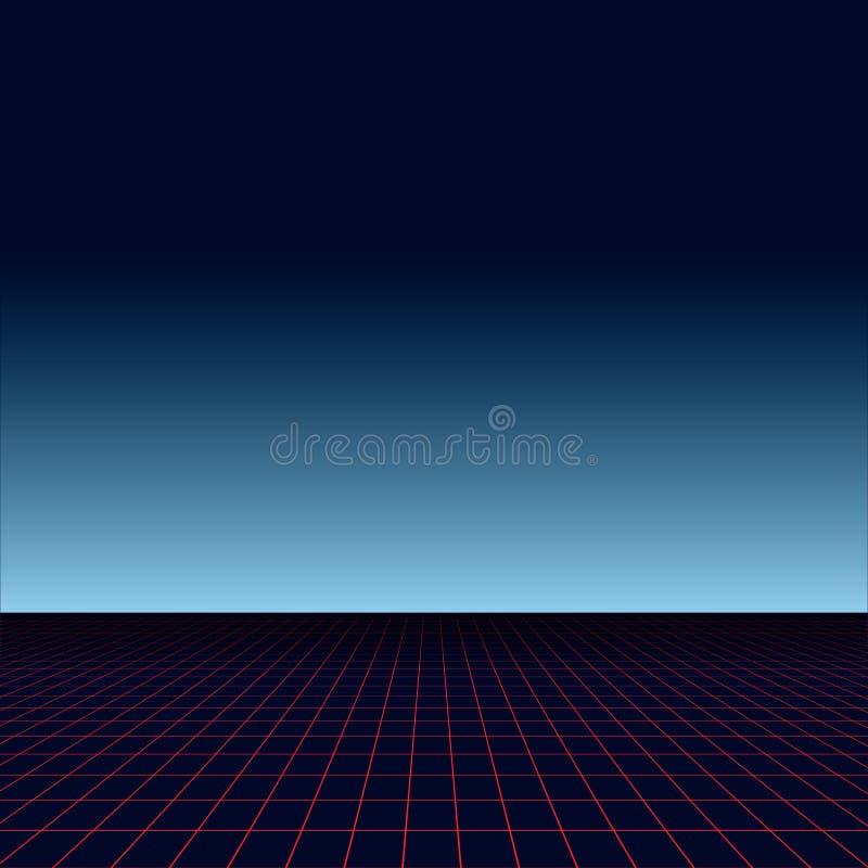 Landschaft der Sonne 80s futuristisch Art des Sciencefictionshintergrundes 80s Gebrauch für irgendein Druckdesign in der Art 80s vektor abbildung